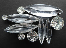 vintage open set clear rhinestone glass abstract flower brooch 80s style -C120