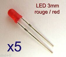 Lot de 5 LED diode rouge 3 mm - 2 broches /  5x red LED 3mm - 2 pins