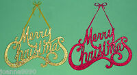 MERRY CHRISTMAS XMAS SIGN RED GOLD HANGING HANGER GLITTER 35CM INDOORS DECOR