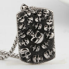 Chic 316L Stainless Steel Mens Skull Dog Tag Pendant Chain Necklace Punk Jewelry