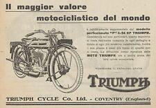 Y7839 Moto TRIUMPH Modello P 4-94 HP - Pubblicità d'epoca - 1926 Old advertising