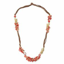 "27"" Multi Color Beaded Fringe Station & Cord Toggle Necklace"
