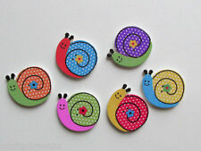25 Cute Snails Wooden Buttons -Scrapbooking - Crafting - Sewing  UK SELLER