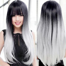 Full Wig Straight Heat Resistant Hair Long Front Black Gray Gradient Ombre Sexy