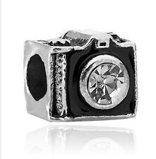 Black Charm camera Beads With WhIte Crystal Fit European Bracelet