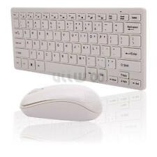 White Wireless Mini Keyboard and Mouse Set for MAC Tablet Laptop US Free Ship