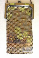 Antique Art Deco Whiting & Davis DAISY Enamel Mesh Metal Flapper Chain Purse