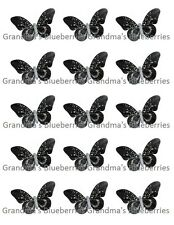 Edible Black Diamond Butterflies Wedding Cake Toppers/Cake Decorations Set of 15