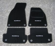 Car Mats in Black to fit Audi A4 (B6+B7 2001-08) + Quattro Logos (x4) + Fixings