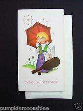 Vintage Unused Xmas Greeting Card Angel Holding Red Umbrella Gold Embossed Star