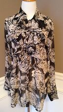 CAbi M Sheer Long Sleeve Button Down Ruffles Boise Gray W Ivory Floral Print