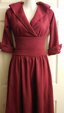 LINDY BOP DARK RED VINTAGE PLEATED WAIST CAREER DRESS 10