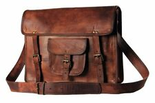 """Men's Retro Leather Messenger Shoulder Bag Satchel 15"""" Laptop Briefcase Attache"""