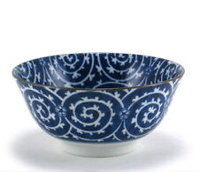 "2 PCS. 6"" Japanese Chinese Rice Bowl Blue/White Karakusa Spiral, Made in Japan"