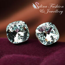 18K White Gold GP Genuine Swarovski Crystal Flowery Wedding Dress Stud Earrings
