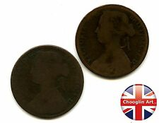 A pair of British Bronze 1860 VICTORIA PENNY Coins              (Ref:1860_02/03)