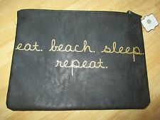 NEW* COSMETIC MAKEUP BAG Black Gold eat beach sleep repeat by Mirror Mirror