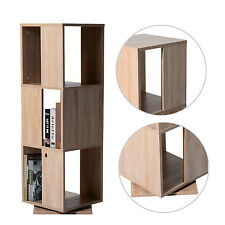 HOMCOM Rotating Bookcase 3 Level Wood Swiveling Storage Bookshelf Home Oak