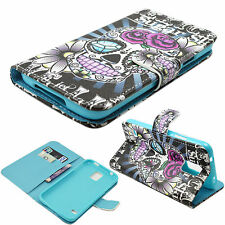 Skull Flip PU Leather Folding Card Wallet Cover Case For Samsung Galaxy S5 i9600