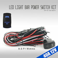 9ft 40A 12V Power Switch & Relay Wiring Harness Kit for LED Light Bar Up to 120W