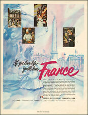 1953 vintage AD HOLIDAY in FRANCE ! French Government Tourist Office 032616