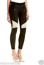 NWT Hudson black tan suede leather Shelby Moto Skinny Stretch Jeans 28 $1096