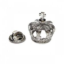 Rhodium 3D Crown King Queen Jeweller Royal Club LAPEL PIN BADGE Present GIFT BOX