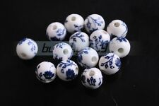 15pcs 10mm Round Flowers Porcelain Ceramic Findings Loose Spacer Beads Deep Blue