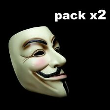 2 X MASCARA V VENDETTA HALLOWEEN ANONYMOUS INDIGNADOS CARETA ANTIFAZ DISFRACES