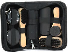 7pc Black Shoe Cleaning Kit in Handy Travel Case