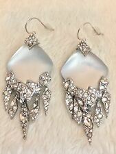 Alexis Bittar Silvertone White Silver Lucite Dangle Earrings Pierced Wires 2.25""