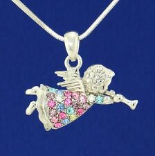 Angel W Swarovski Crystal Cupid Multi Color Pendant Necklace Heaven Gift
