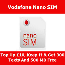 Vodafone pay as you go tarjeta Nano Sim Para Apple Iphone 5 & 5s Y 5c A Con Nueva Sin