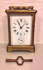 Antique French Carriage Clock Bell Alarm Porcelain Face Runs & Strikes