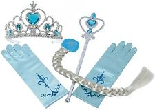 Frozen Snow Queen Elsa Princess Crown&Hair Piece&Wand Gloves Set Girls Kids Gift