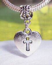 Heart Cross Christian Jewelry Dangle Bead fits Silver European Charm Bracelets