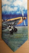 Vintage Tie Rack Picture Tie P-51 Mustang Aircraft Aviation 1980s Ralph Marlin