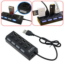 New Black LED 4 Port USB 2.0 Hub High Speed 480 Mbps Power On/Off Button Switch