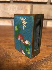 ANTIQUE OLD AUTHENTIC CHINESE CLOISONNE ENAMEL FLORAL MATCHBOX HOLDER CHINA RED