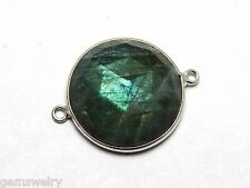 20 MM. Round Natural Labradorite Bezel 925 Solid Sterling Silver Connector Charm