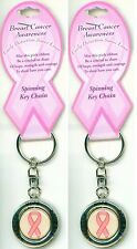 2-SET BREAST CANCER SPINNING KEY CHAIN Awareness Pink Ribbon Women Support NEW