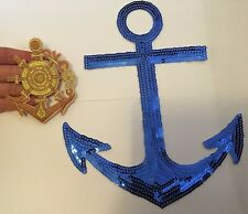 2 anchor patches sequin applique iron on sew patch badge motif embrodiered UK