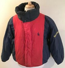 Rare VTG 90s Nautica Sailing Reversible Spellout Puffer Jacket Youth L Adult XS