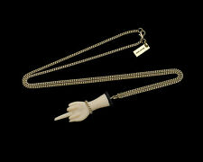 Marc Jacobs Gold/White The Middle Finger Charm Necklace