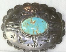 VTG OLD PAWN 1940'S LARGE STERLING SILVER TURQUOISE TOOLED CONCHO PIN