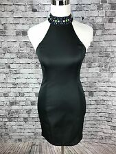 Forever 21 Formal Bodycon Stretch Black Mini Dress Jr Sm Jeweled T Strap Back