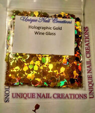 Solvent Resistant WINE GLASS Holographic Gold~ Acrylic/Gel/ Nail Art~ USA
