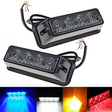 2Pcs  LED Blue Warning Grille Hazard Emergency Beacon Flash Strobe Signal Light