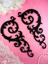 "Embroidered Appliques Black Mirror Pair Scroll Iron On 6.75"" (GB401X-bk)"