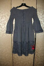 3J Workshop Johnny Was Gray Striped Floral Butterfly Embroidered Smocked Dress S